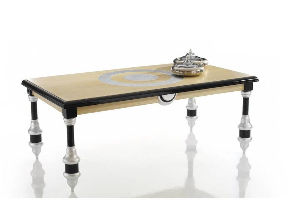 Zache: Antenzza: стол обеденный (Crema Patinado Negro brillo Pan de Plata)