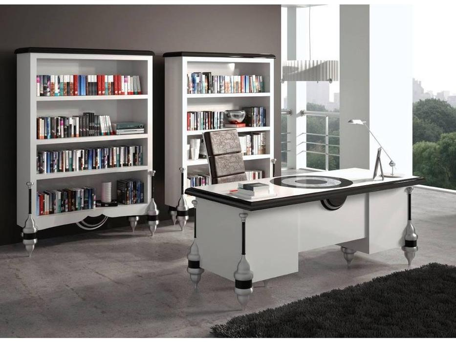 Zache: Antenzza: стол письменный (Blanco Negro brillo Pan de Plata)
