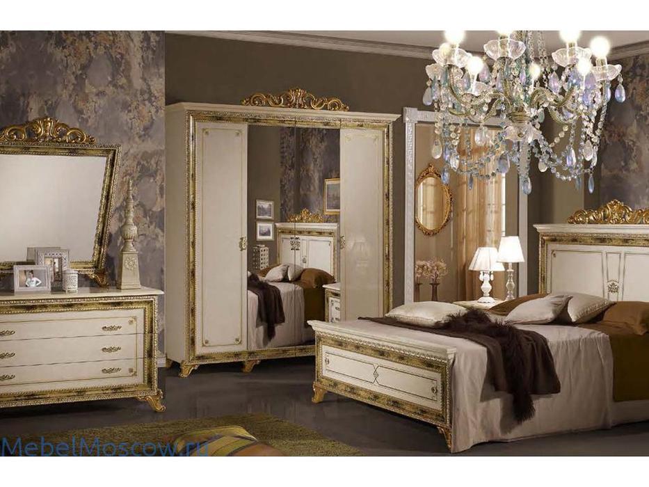 Dia: Катя: шкаф 4-х дверный с зеркалами (беж, золото)