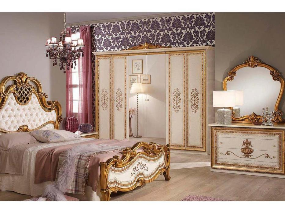 Dia: Анита: шкаф 6-ти дверный с зеркалами (беж, золото)