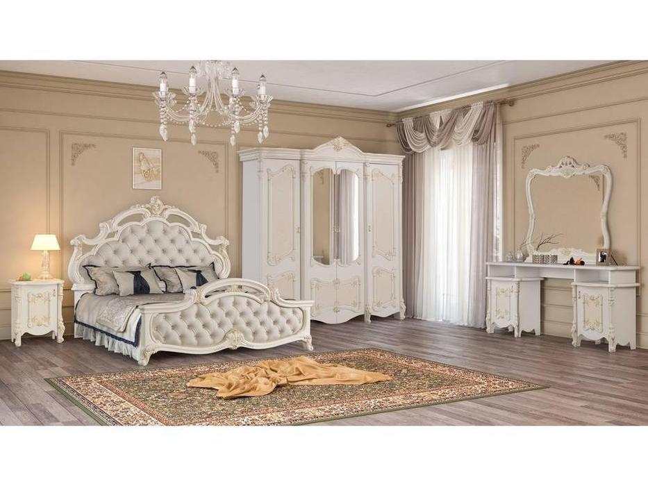 Dia: Рафаэлла: спальная комната с 4-х дверным шкафом (крем, золото)