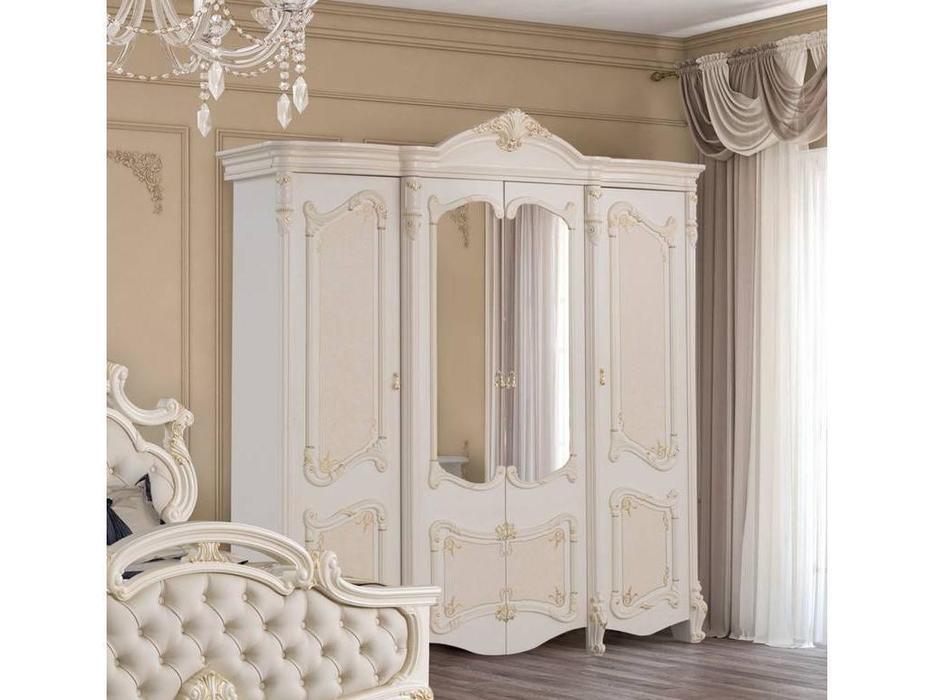 Dia: Рафаэлла: шкаф 4-х дверный с зеркалами (крем, золото)