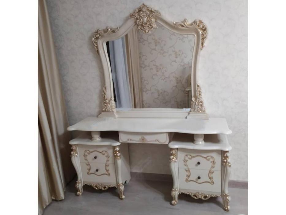 Dia: Джоконда: туалетный стол с зеркалом (крем, золото)