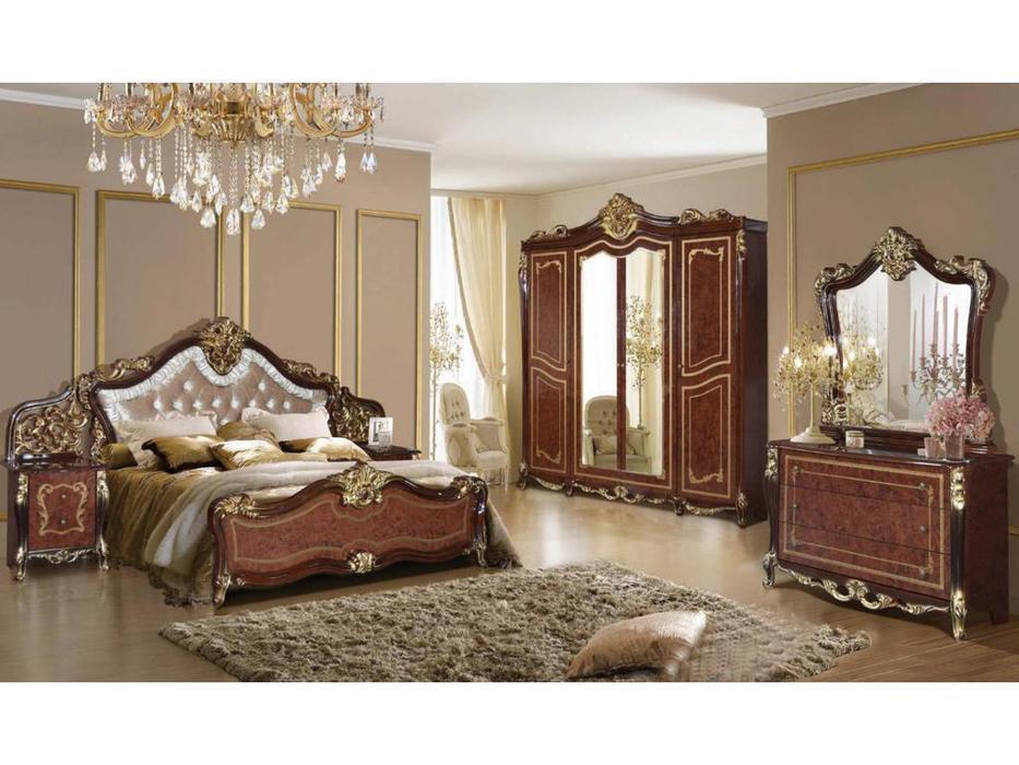 Dia: Джоконда: спальная комната с 4-х дверным шкафом (орех, золото)