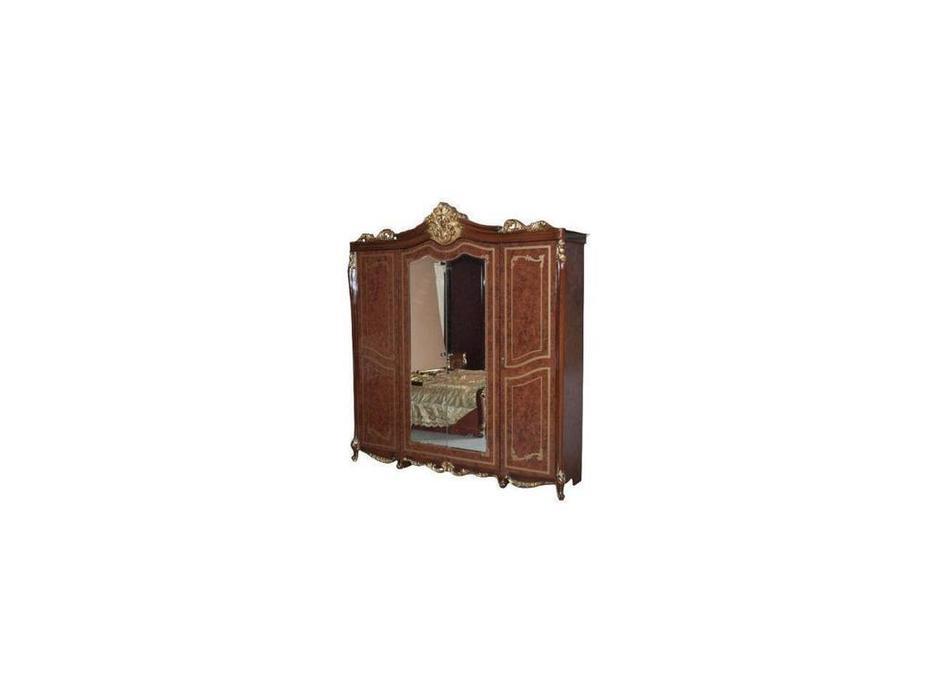 Dia: Джоконда: шкаф 4 дверный с зеркалами (орех, золото)