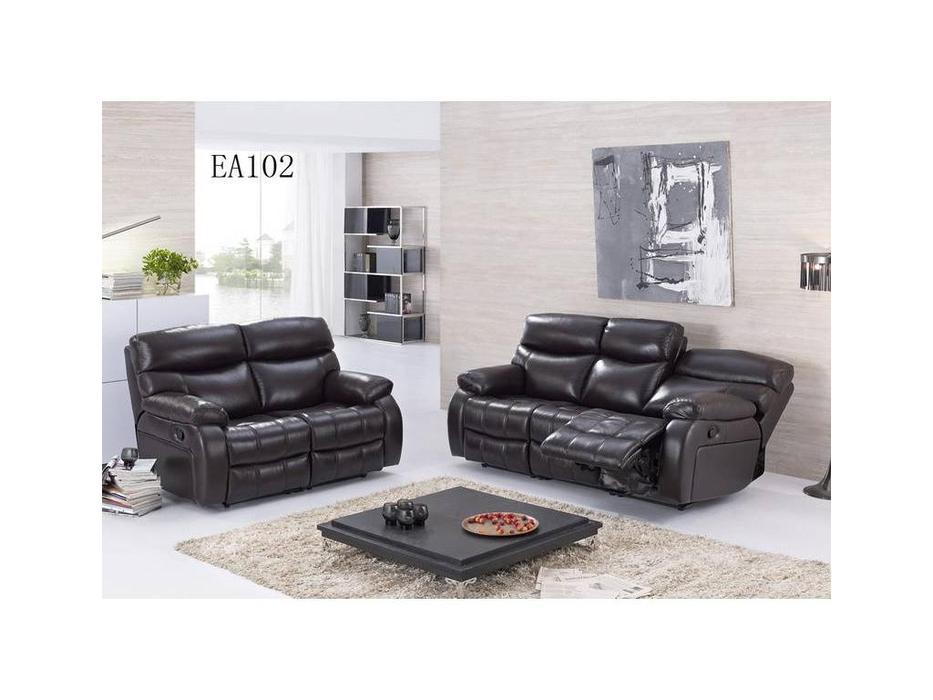 Nomec: ЕА102: диван 3-х местный  (кожа 9209, черный)