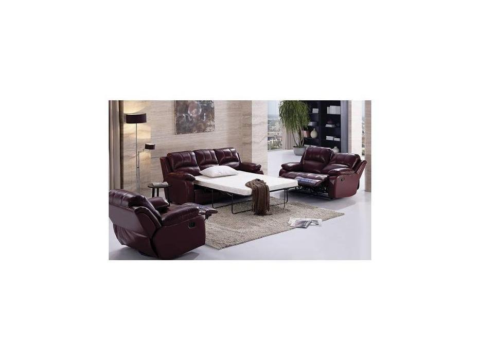 Nomec: ЕА42: диван 3-х местный  раскладной кожа 9204 (бежевый)