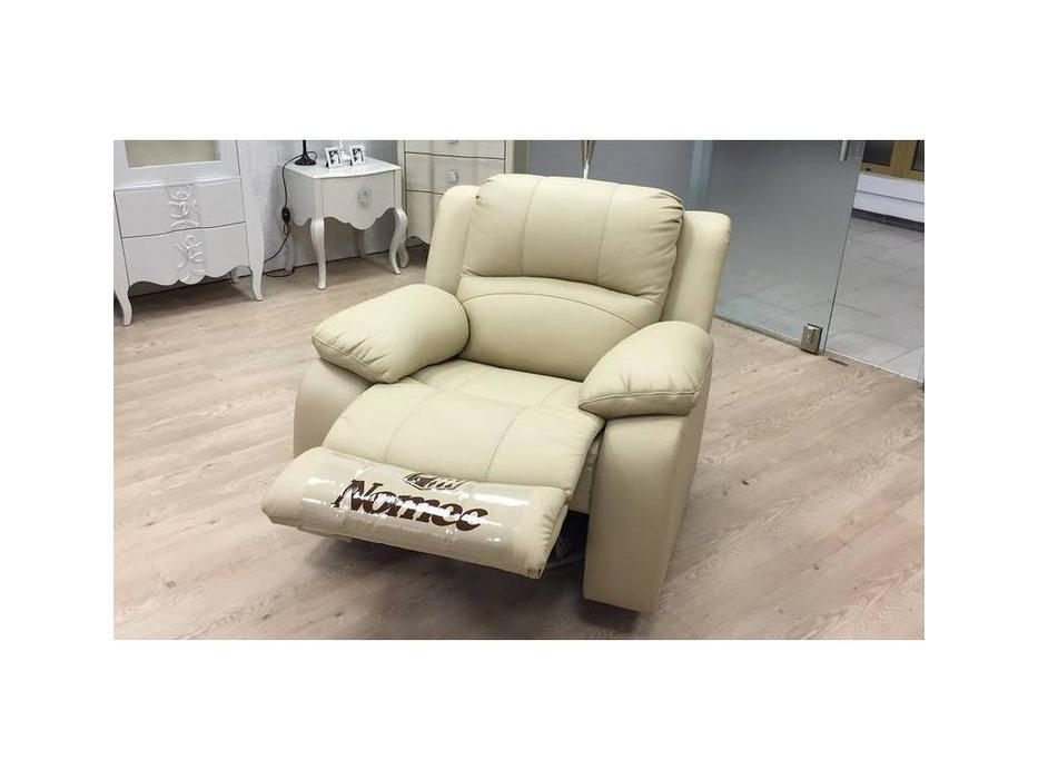 Nomec: ЕА42: кресло-реклайнер  кожа 3152 (песочный)