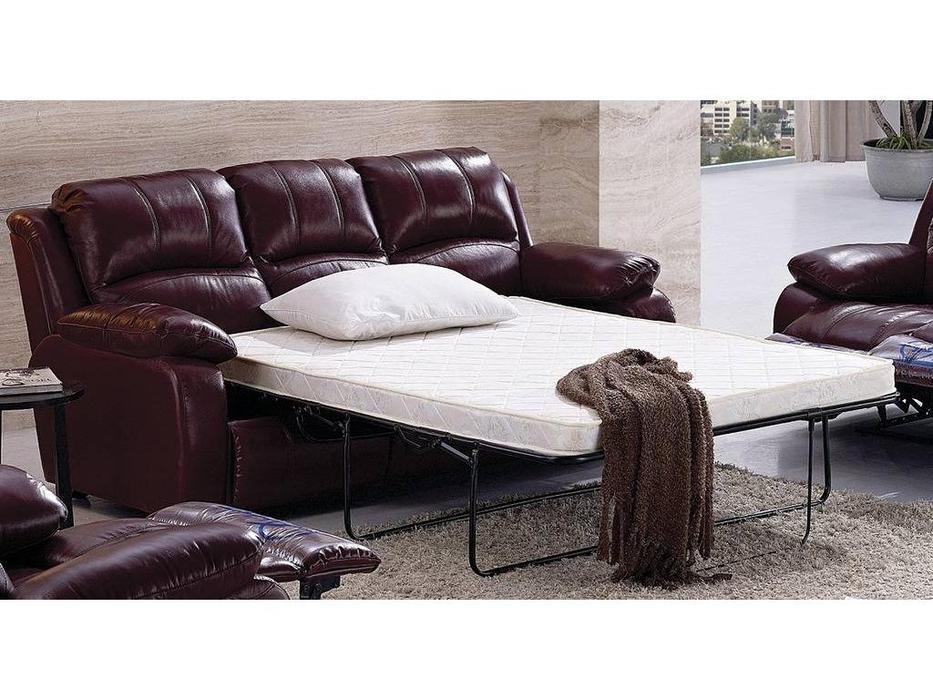 Nomec: ЕА42: диван 3-х местный  раскладной кожа 9208 (горчичный)