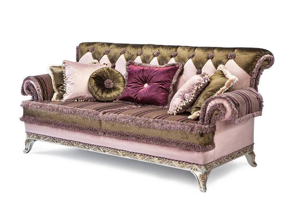 Exedra: Grace: диван 3-м (ткань, белый с золотом)