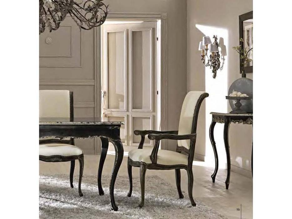 Cafissi: Bellosguardo: стул с подлокотниками  Gruppo II (черный с серебром) экокожа