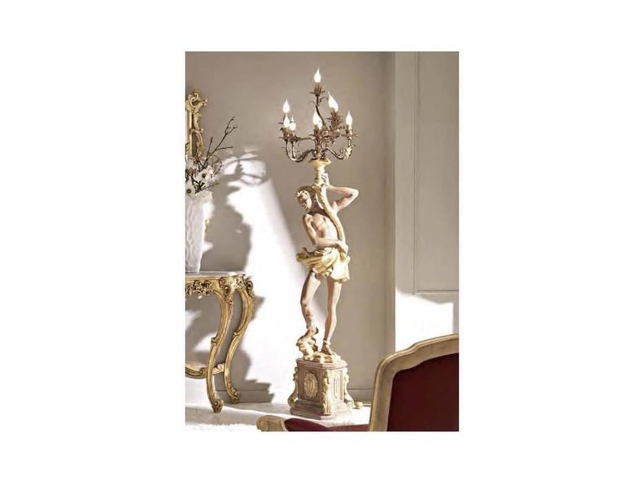 Cafissi: Bellosguardo: торшер Мавр с канделябром  Gruppo III (орех, золото)  5015.f