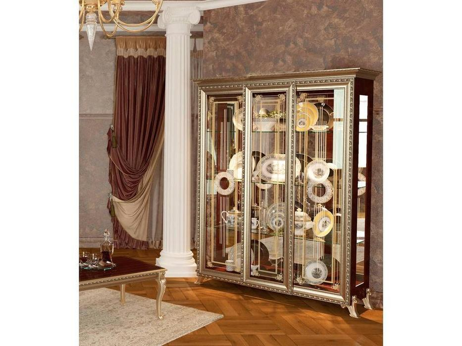 Мэри: Версаль: витрина 3-х дверная  без короны (орех)
