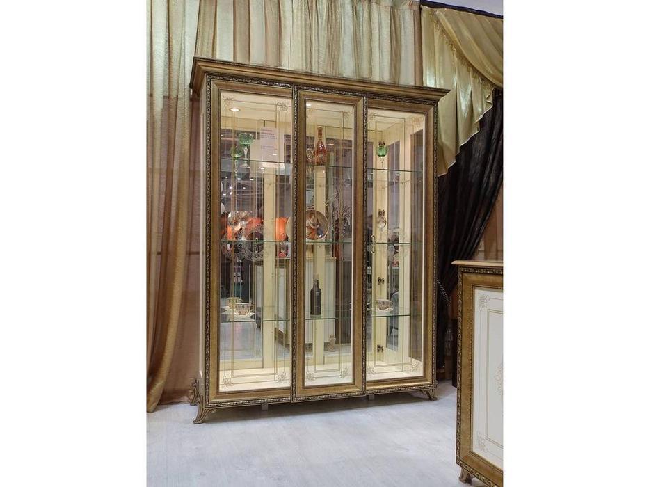 Мэри: Версаль: витрина 3-х дверная  без короны (слоновая кость)