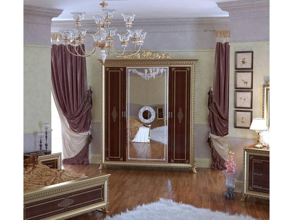 Мэри: Версаль: шкаф 4-х дверный  (орех)