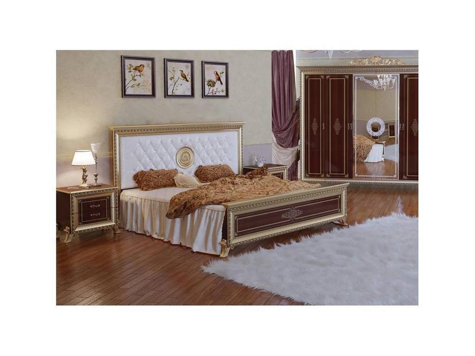 Мэри: Версаль: кровать 160х200 с мягким изголовьем  (орех)