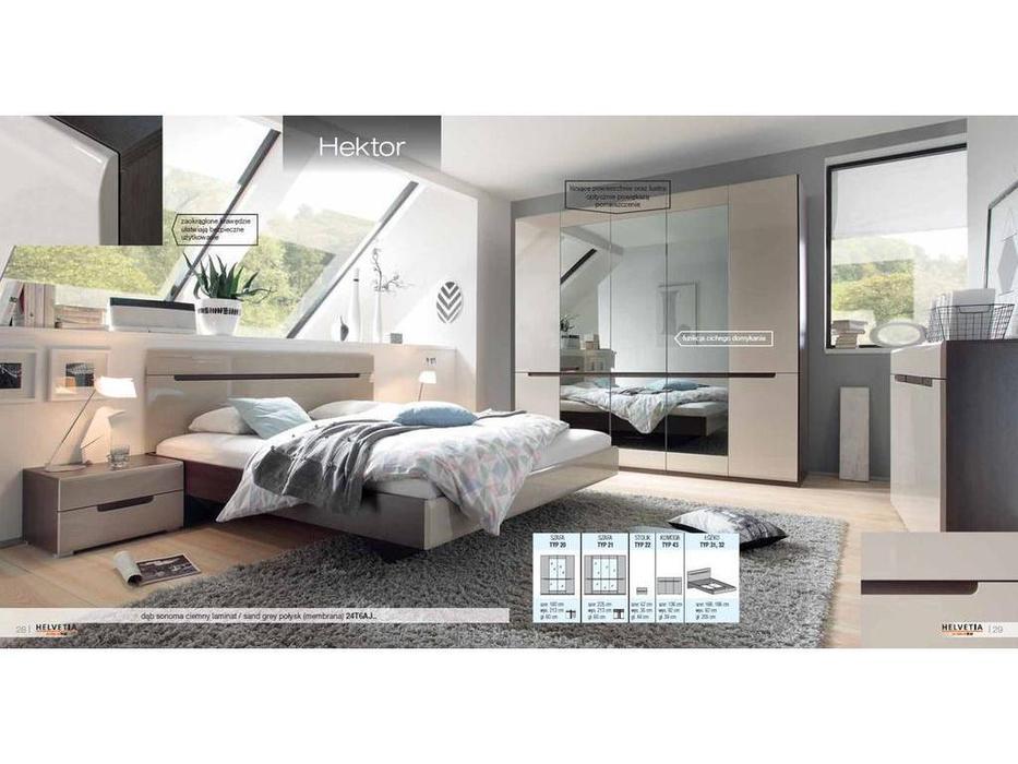 Helvetia: Hektor: спальная комната с 4-х дверным шкафом (капучино)