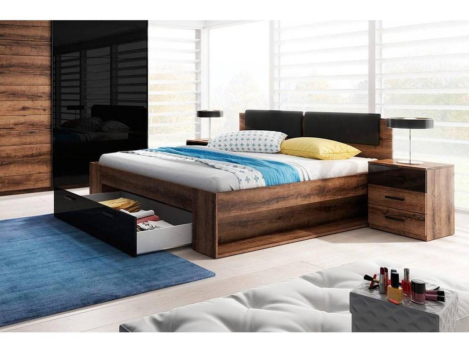 Helvetia: Galaxy: кровать с ящиком 180х200  (орех, черный)