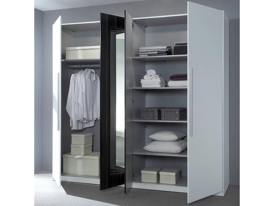 Helvetia: Vera: шкаф 4 дв с зеркалами  (бетон, белый)