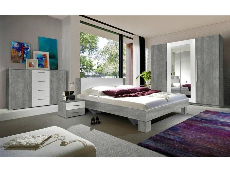 Helvetia: Vera: спальная комната со шкафом  (бетон, белый)