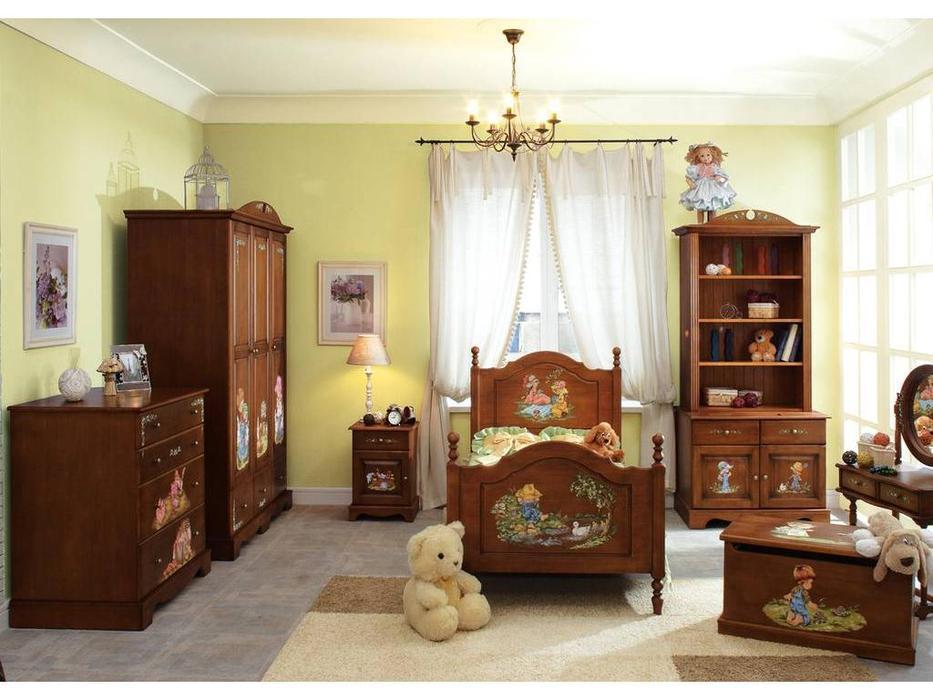 De Luxe: Любимая сказка: детская комната с кроватью 90х190 массив (орех, роспись)