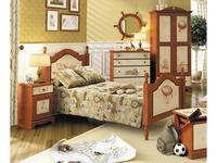 De Luxe: Любимая сказка: кровать резная 90х190 (орех, роспись)