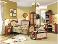 De Luxe: Любимая сказка: детская комната с кроватью 90х190 (орех, роспись)