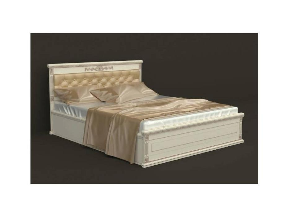 Arco Decor: кровать 200х200 с под-м мех-мом (беж, коричневая патина, экокожа)