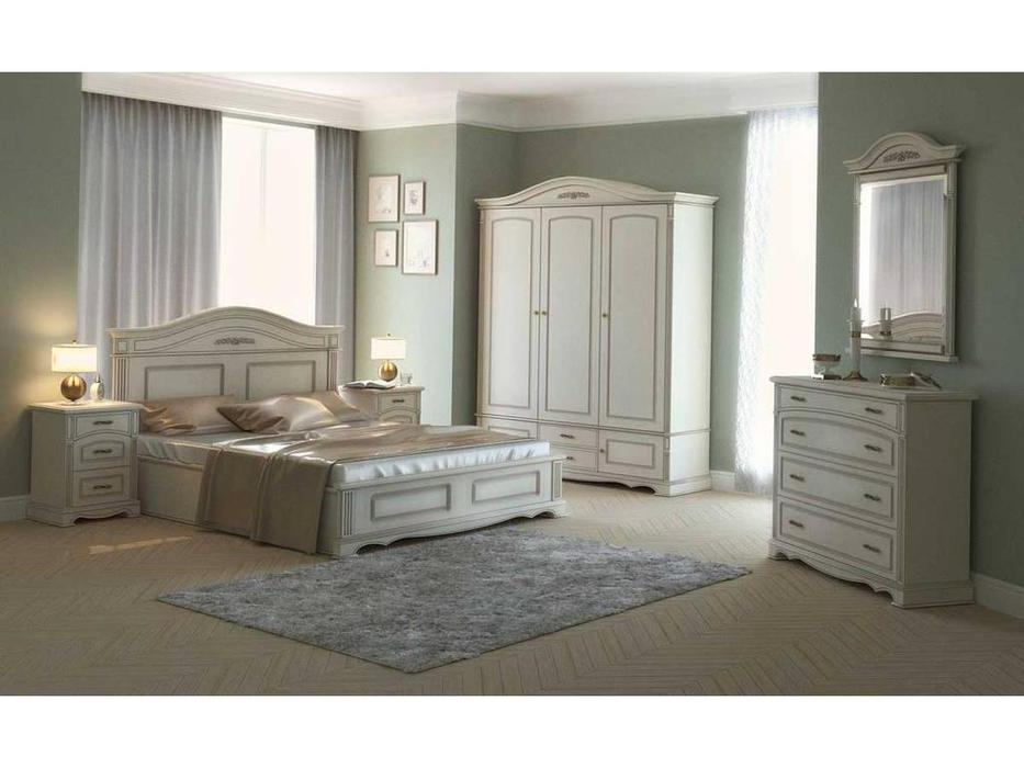 Arco: Esperansa: спальная комната с 3-х дв шкафом  (белый, патина- коричневая)