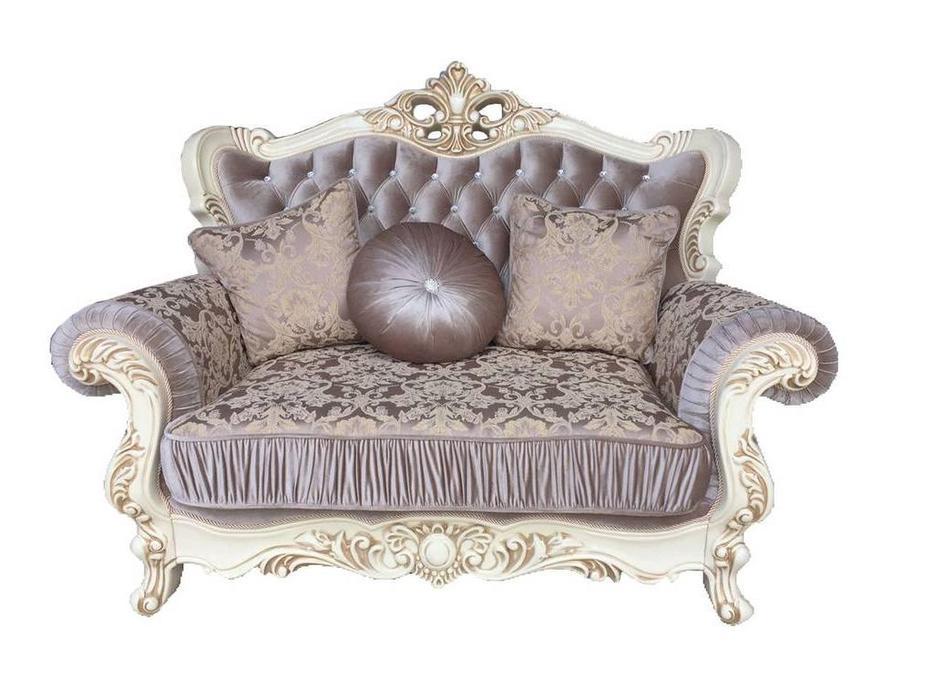 Beloni: Феллини: диван 2-х местный (слоновая кость, ткань, золото)