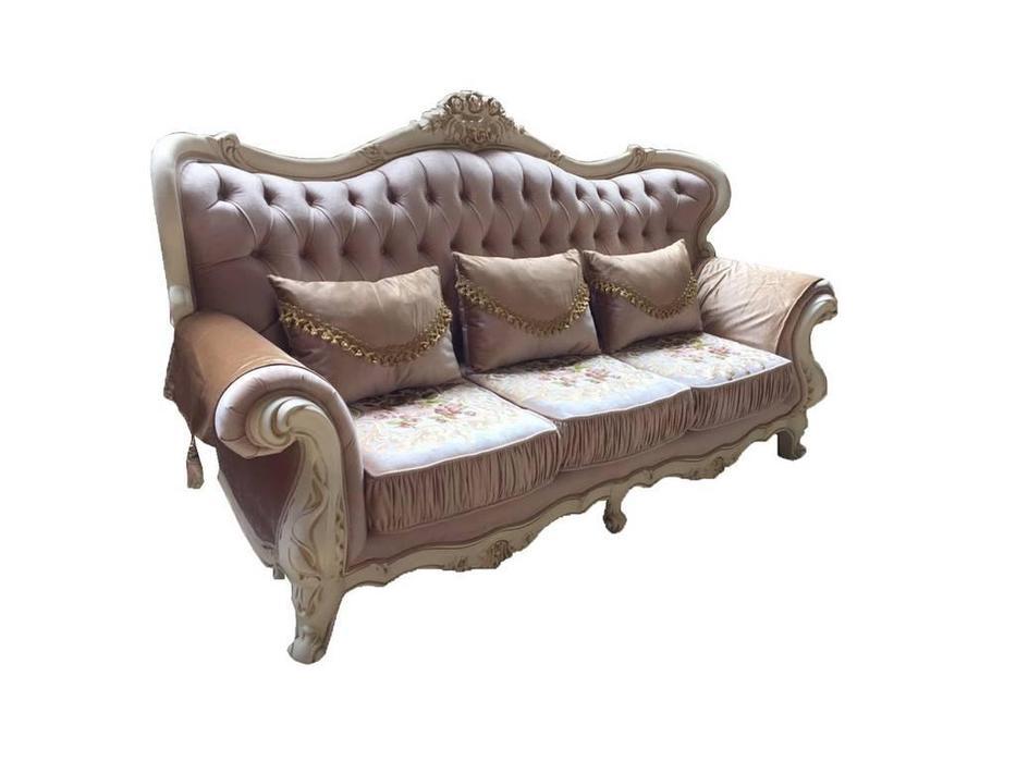 Beloni: Баронеса: диван 3-х местный (слоновая кость, ткань, золото)