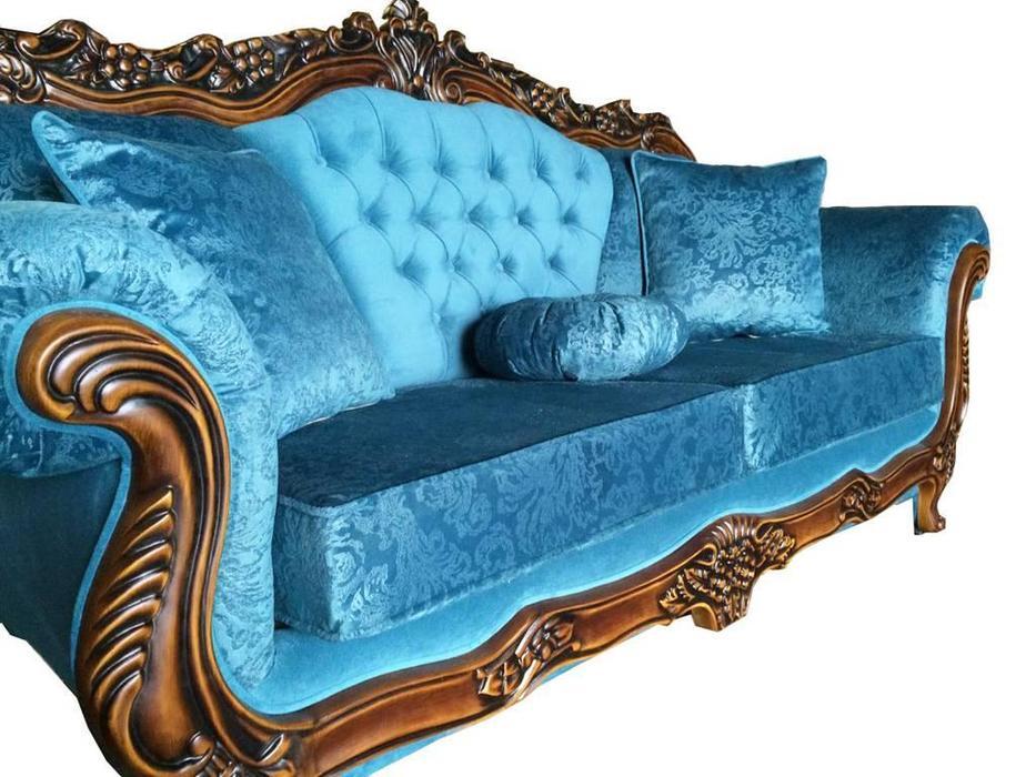 Beloni: Малетти: диван 3-х местный раскладной (орех, ткань синий)