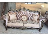 Beloni: Малетти: диван 3-х местный раскладной (темный орех, золото, ткань беж)