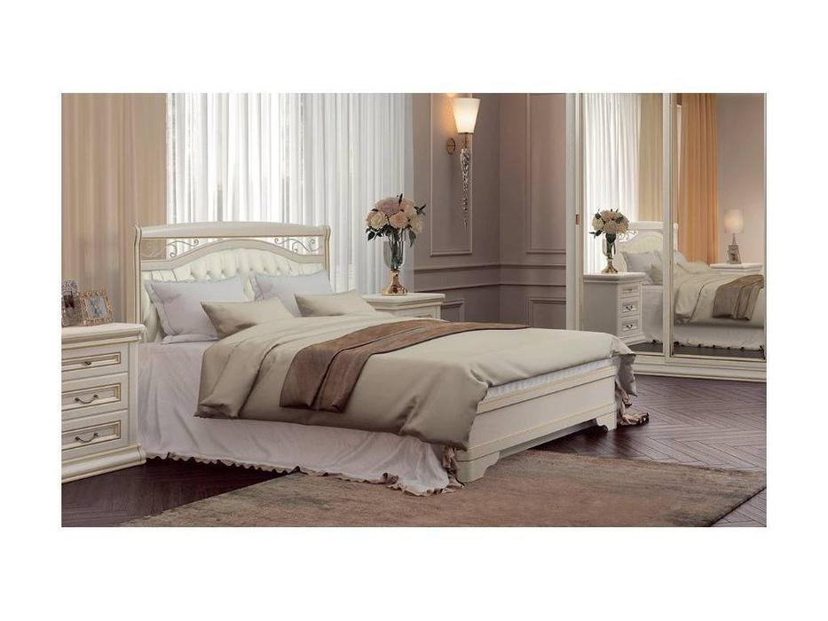 Свобода: Сильвия: кровать  140х200 с кованым элементом и мягкой спинкой (белый ясень)