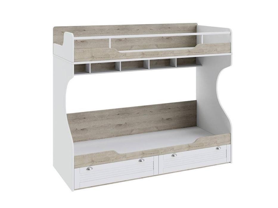 Triya: Ривьера: кровать двухъярусная  80х200 (дуб бонифацио, белый)