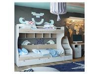 Triya: Ривьера: кровать двухъярусная с лестницей, мягк./спинк. (дуб бонифацио, белый)