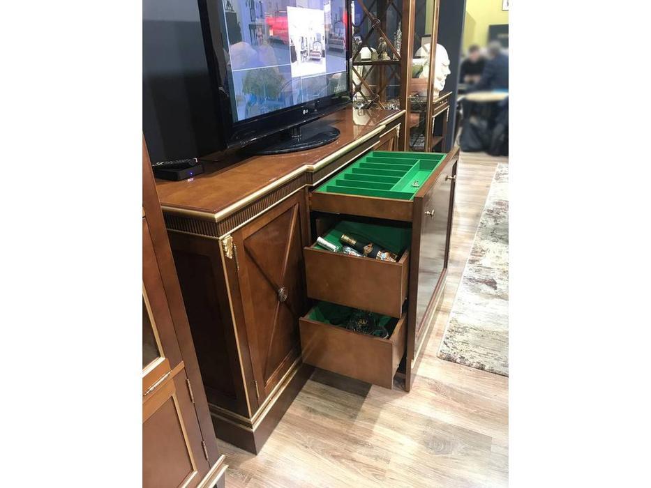 Zzibo Mobili: Verona: тумба под телевизор -бар (орех с золотой патиной)
