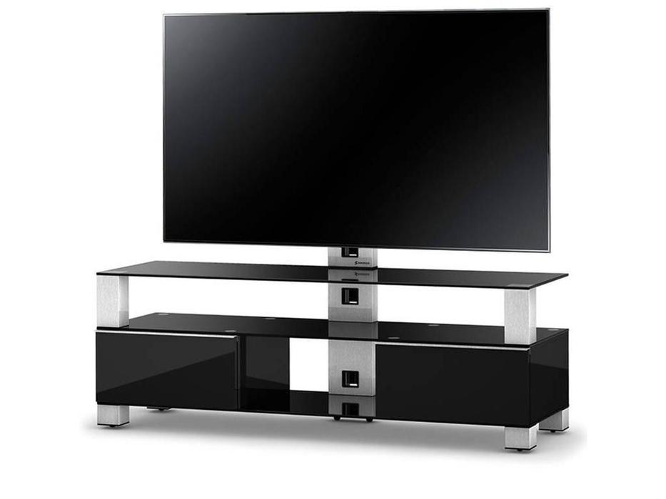 Sonorous: MD 8143: тумба под телевизор  (черное стекло, стальной, черный)