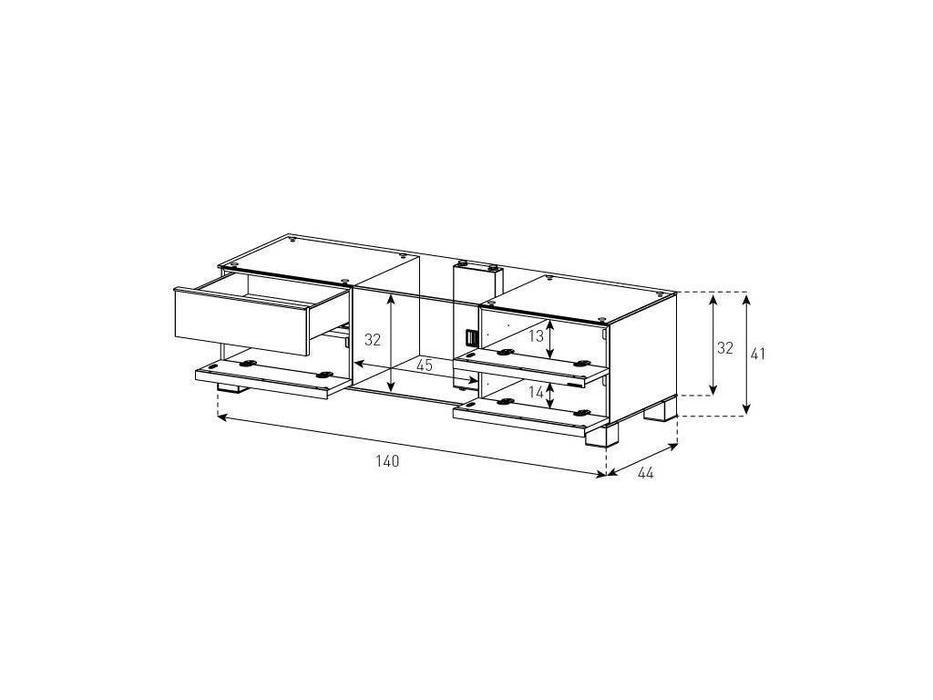 Sonorous: MD 9340: тумба под телевизор  (черное стекло, стальной, орех)