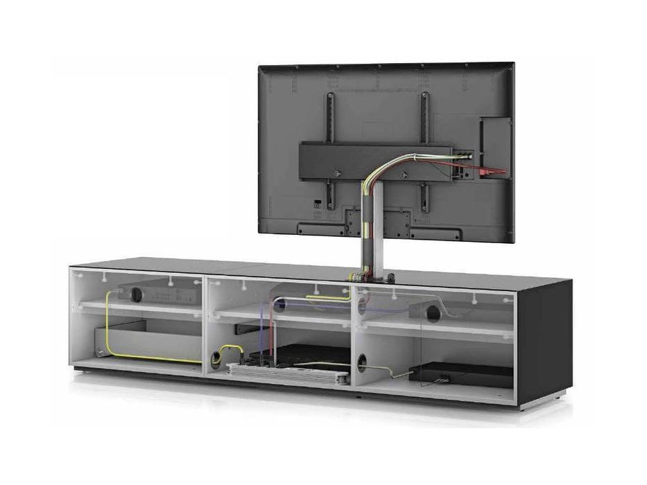 Sonorous: ST 161: тумба под телевизор  (белое стекло, стальной, белый)