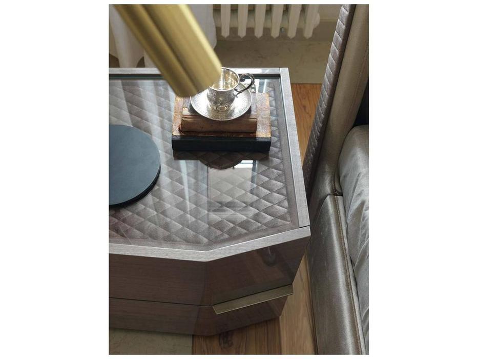 Rossetto: Elysee: тумба прикроватная  правая топ с тканью и стеклом (grigio)