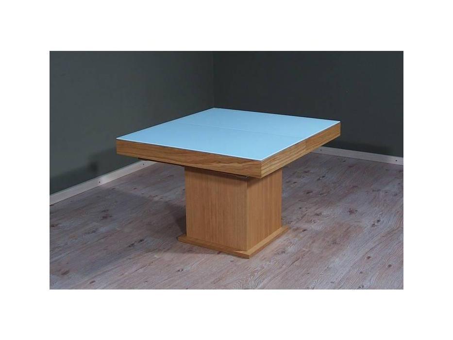 Optimata: стол-трансформер  раскладной (дуб, стекло белое)