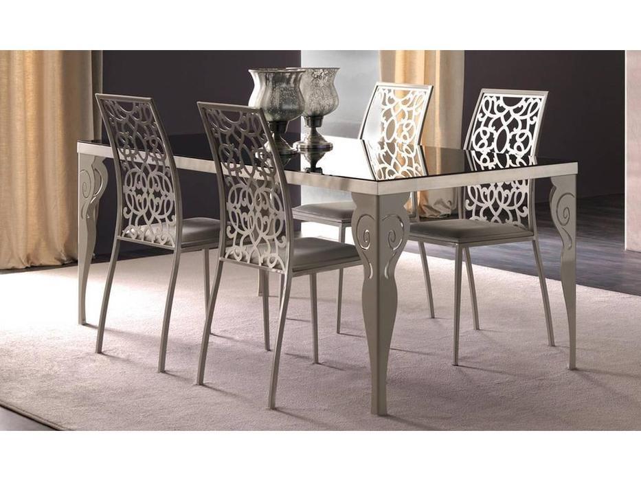 Corte Zari: Kaleido: стол обеденный  (foglia argento melange gambe magnolia)