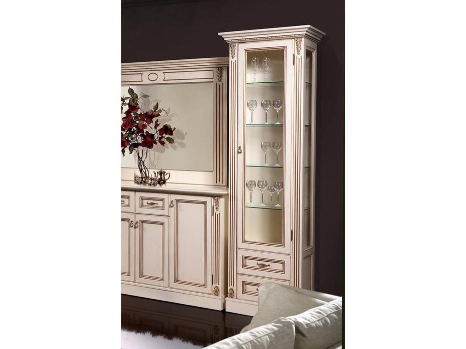 БМ: Палермо: витрина 1 дверная  правая (ваниль, золото)