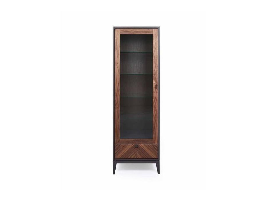 БМ: Альба: витрина 1 дверная  левая (орех, мокко)