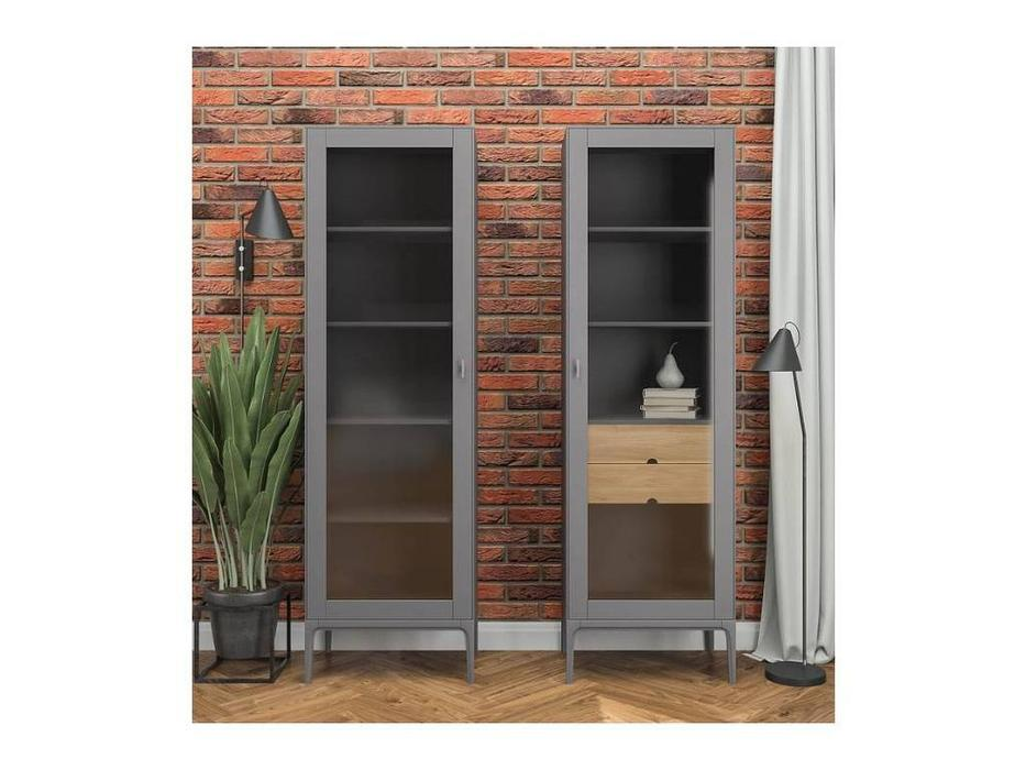 БМ: Верона: витрина 1 дверная  правая с ящиками (мокко)