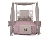 Fertini: Baby: кровать  (белый лак, розовый)