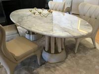 Aleal: Prestige: стол обеденный  (мрамор, ткань)