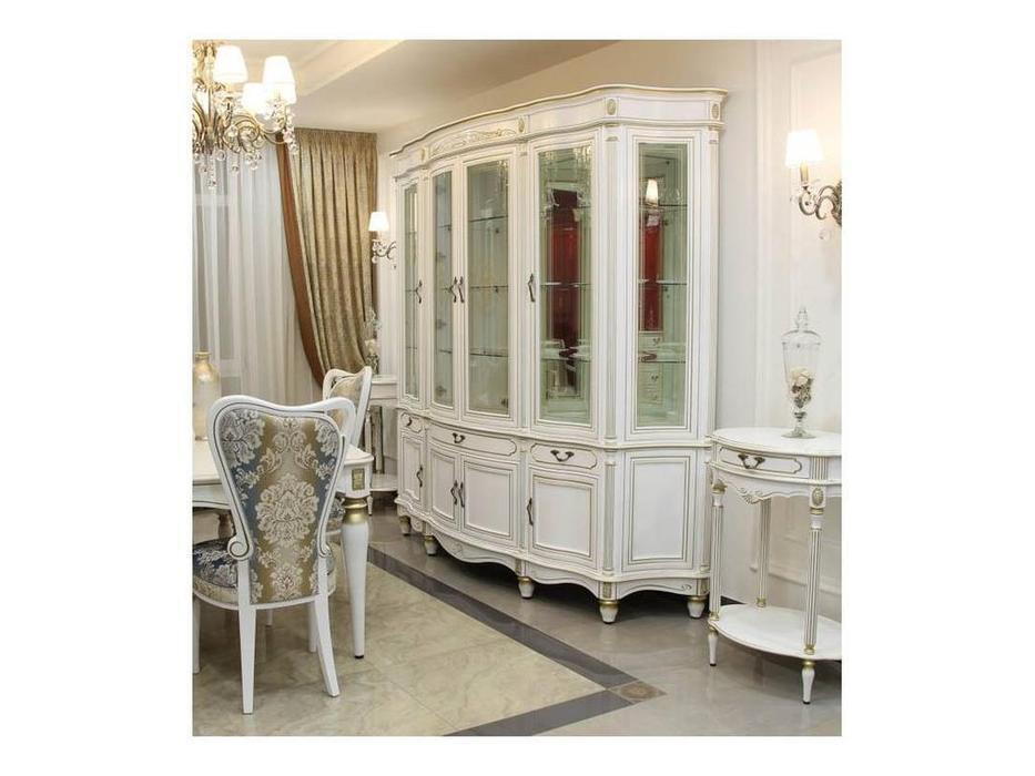 Юта: Палермо: витрина 4 дверная  (белый, патина)