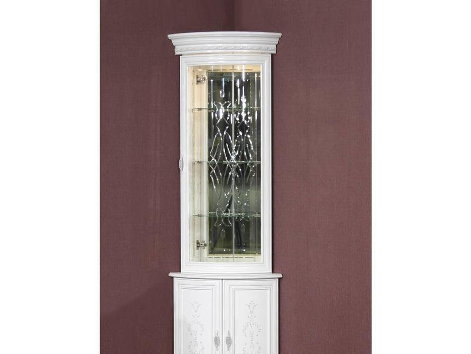 Юта: Милан: витрина угловая  надстройка верхняя (белый)